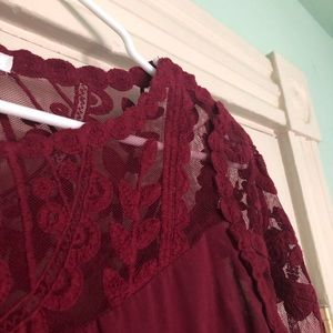 Maroon long sleeve lace top